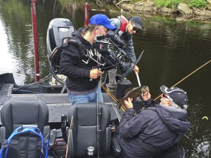 Ang holds up a great Smallmouth Bass during the filming of this Fish'n Canada episode.