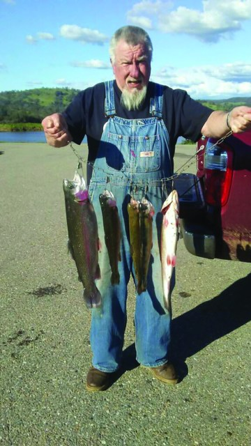Papa Greg busted a big limit of rainbows to 4.5 lbs while soaking PowerBait and Power Eggs near the spillway at Lake Amador on February 24.