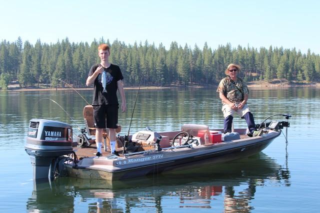 Jack and Chris McMillan of Reno enjoy a day trolling for kokanee at Stampede.