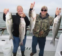 Kristen and Dave loaded up on striped bass while fishing the Cal Kellogg School of Fishing event aboard the California Dawn.