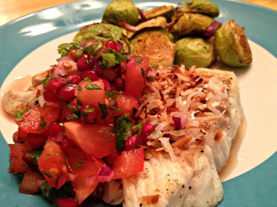 Toasted coconut cod with pomegranate salsa