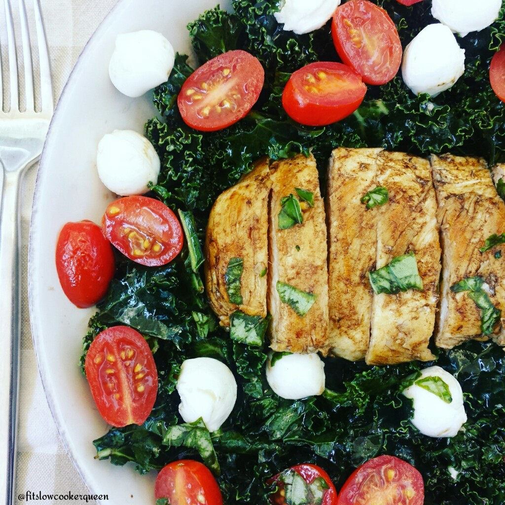 Caprese Grilled Chicken Kale Salad