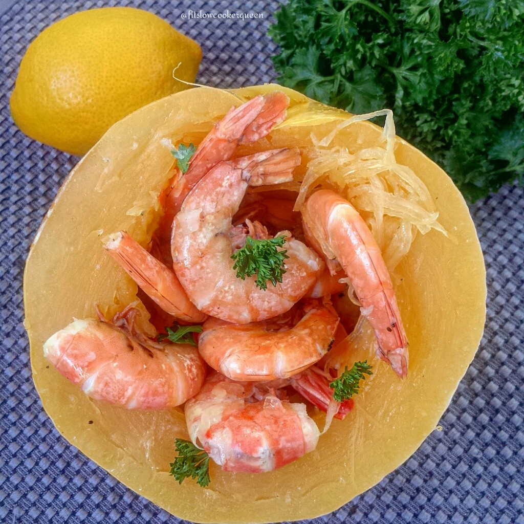Healthy spin on shrimp scampi made in the crockpot.