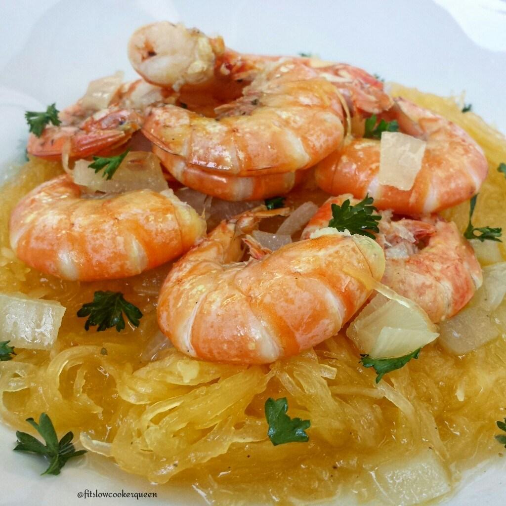 Slow Cooker Spaghetti Squash Shrimp Scampi