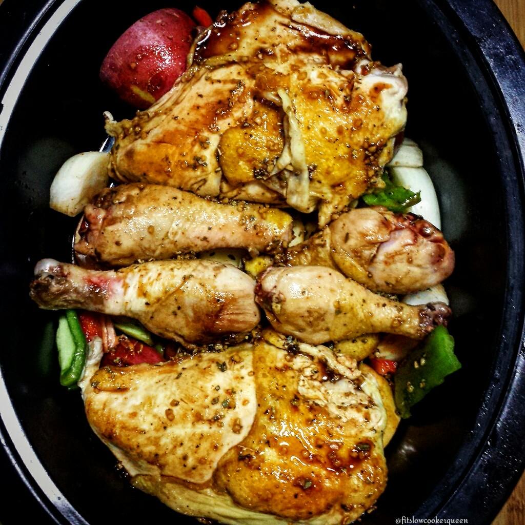 Slow Cooker Honey Garlic Chicken & Potatoes - Fit SlowCooker Queen