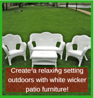 White wicker patio furniture 5 best deals for Best deals on patio sets