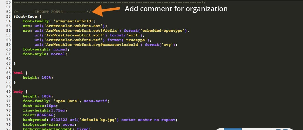 Add @font-face Rule - Use CSS Comment For Organization
