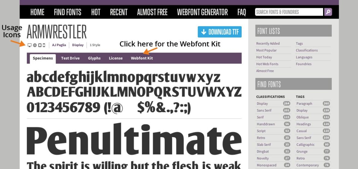 Check Usage License - Click Webfont Kit Link
