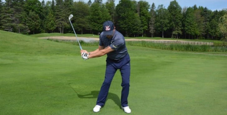 You can really see in this photo how patient I've been at the start of my downswing. I allow my lower body to shift and rotate so my arms drop into a great delivery position. From this position I can really step on the gas and swing my club into the ball with speed and power. Remember, you don't want speed at the top of your swing, you want speed moving into the golf ball.