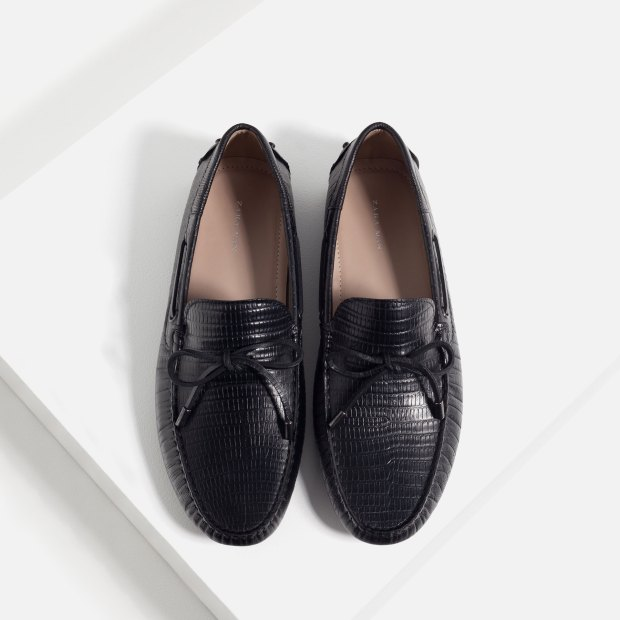 Zara Man Embossed Leather Loafers 2
