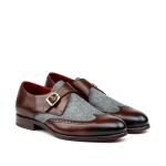 Vecchio Medici Brown Calf With Grey Flannel Single Monk Strap Shoes