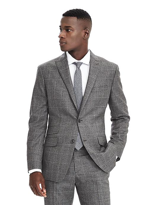 Banana Republic Men's Grey Plaid Wool Suit