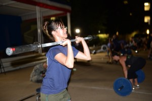Air Force Staff Sgt. Ma Antonette Cabantog participates in an intense physical training workout at the Pentagon, Sept. 11, 2014, held to commemorate the 13th anniversary of 9/11. (U.S. Army photo by C. Todd Lopez).