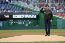 Maj. Gen. Stayce D. Harris, Commander, 22nd Air Force, Air Force Reserve Command, at Nationals Park on April 16, 2015 to be recognized during the Washington Nationals Black Heritage Night. (Jennifer Milbrett/Staff)