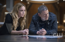 Sara Lance (Caity Lotz, left) posed as an Air Force officer on The CW's Legends of Tomorrow on Thursday, the latest time the service has made an appearance on a superhero TV show. Wentworth Miller, right, also stars as Leonard Snart. (Photo Courtesy/The CW)