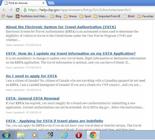 Questions about ESTA are answered via the official website