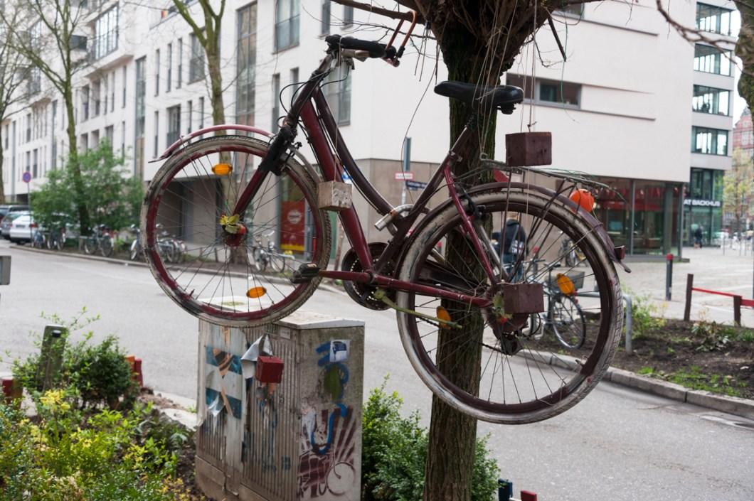 Hamburg St Pauli Tour Bike in a Tree