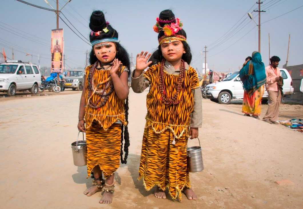 two young children dress up as Shiva