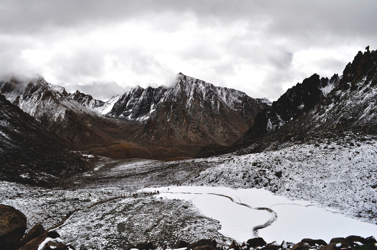 view from Dolma La pass at 18,500 ft