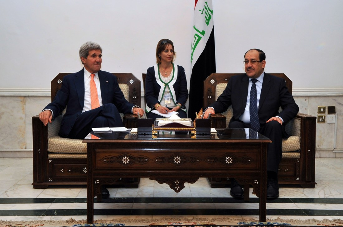 Secretary_Kerry_Sits_With_Iraqi_Prime_Minister_al-Maliki_Before_Meeting_in_Baghdad_June_2014