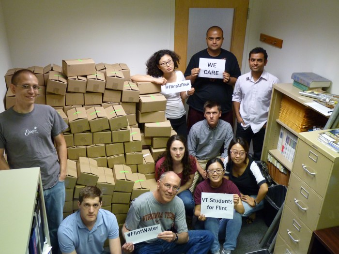 Virginia Tech students and scientists pose with the assembled lead kits