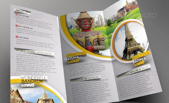 10 Beautiful Trifold Travel Brochure Tempaltes     PSD  PDF  Indesign     travel marketing materials6
