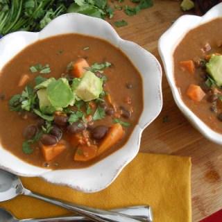 Black Bean, Sweet Potato & Soy Chorizo Soup