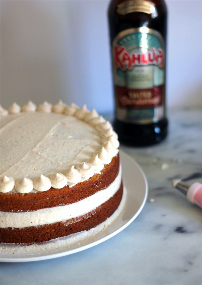 Pumpkin Spice Cake with Salted Caramel Kahlua Buttercream | Flora Foodie