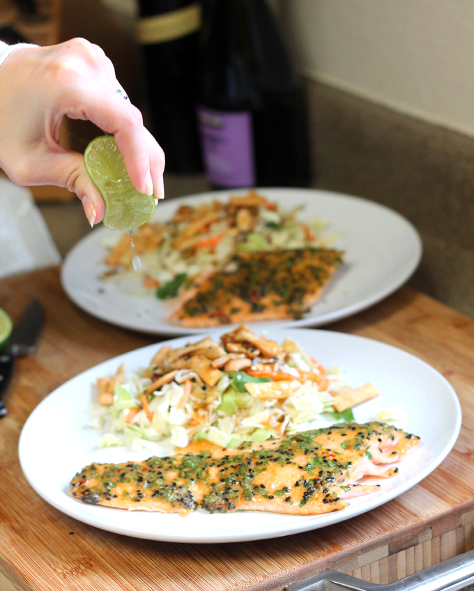 sesame herb crusted salmon
