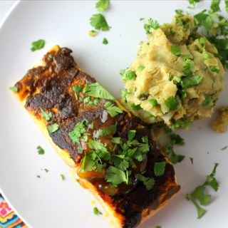 Curry Crusted Salmon + Samosa Mashed Potatoes