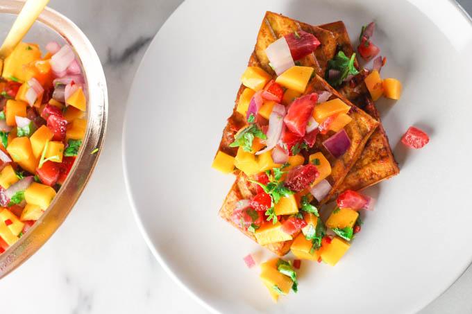 Spicy Grilled Tofu + Strawberry-Mango Salsa