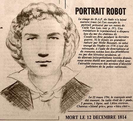 Le marquis de Sade portrait robot