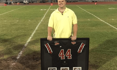 Bryan Stork had his Vero Beach High football jersey retired at the team's spring game on May 15. Photo Courtesy of Vero Beach Football.