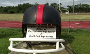 "The Original ""Bragging Rights"" helmet of the Martin Bowl between South Fork & Martin County. Photo by Dennis Jacob, TC Palm. Follow on Twitter at  @DennisJacob80"