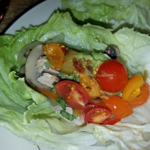 Chicken fajita lettuce wraps - leftover and delicious.