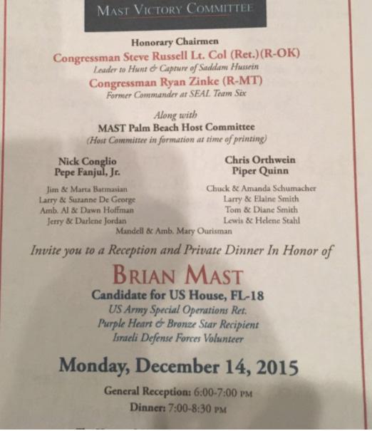 Fanjul Fundraiser for Brian Mast 12.14.2015
