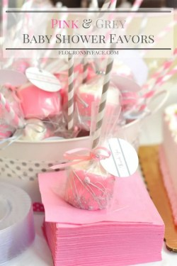 Pretty Easy Pink Grey Baby Shower Chocolate Dipped Marshmallows Make Party Favors Girl Baby Shower Cake Pops Byshowerstuffgirlbabyshowermesml