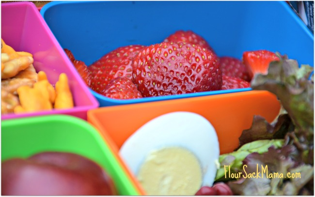 strawberries, eggs, school lunch