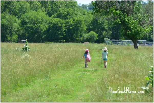two girls in farm field