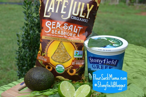 ingredients for dip with Stonyfield Greek yogurt and Late July Organic chips