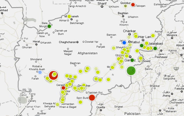 Afghanistan incidents from war logs