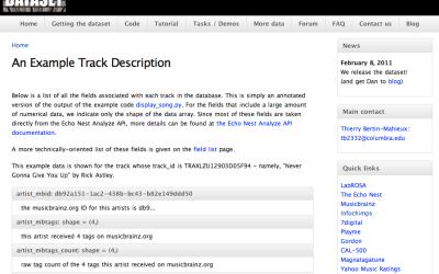 Million song dataset
