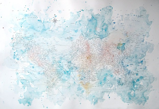 Typographic Map and Water Colors