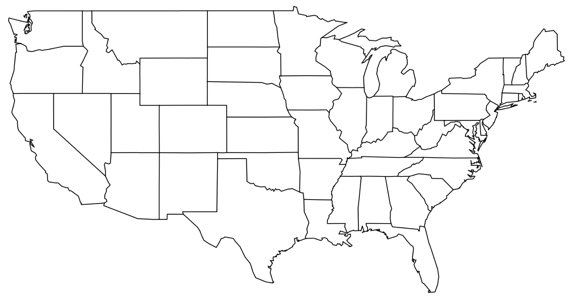 Blackline Map Of Us - Blackline us map