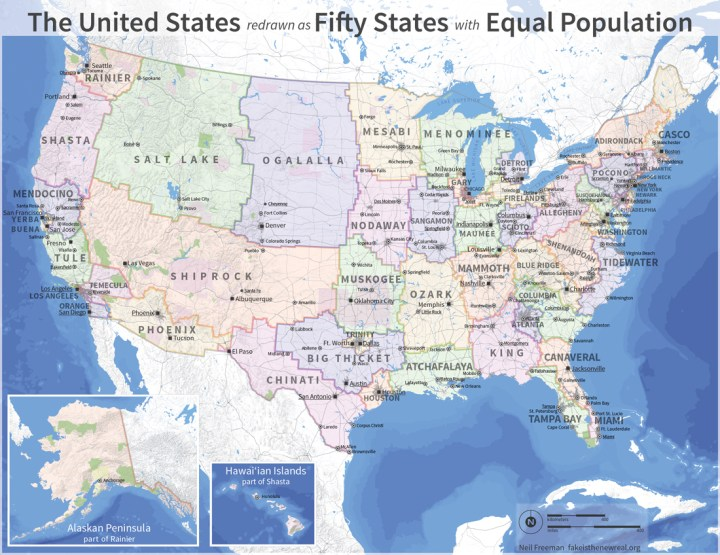 Electoral college reform (fifty states with equal population)