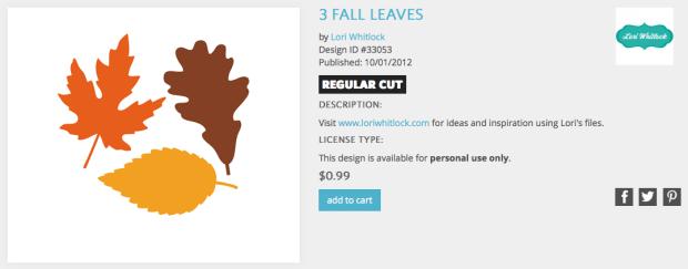 Silhouette Design Store Lori Whitlock 3 Leaves Design