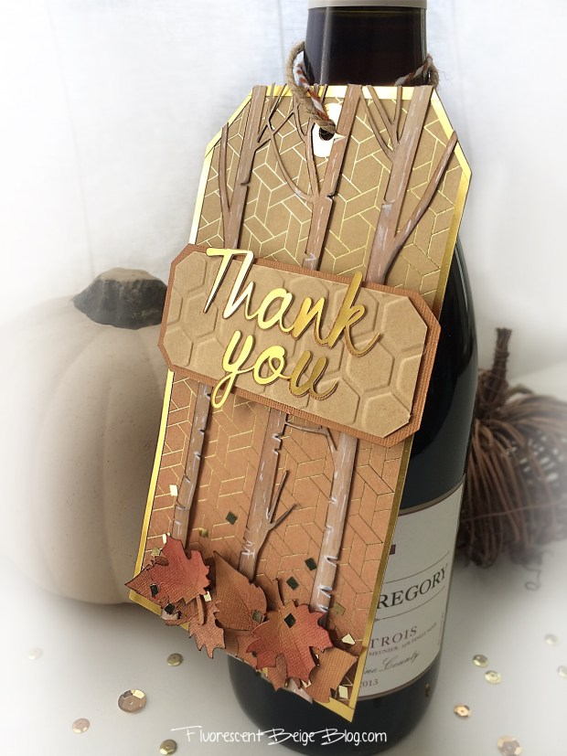 Fall Inspired Thank You Gold Wine Tag