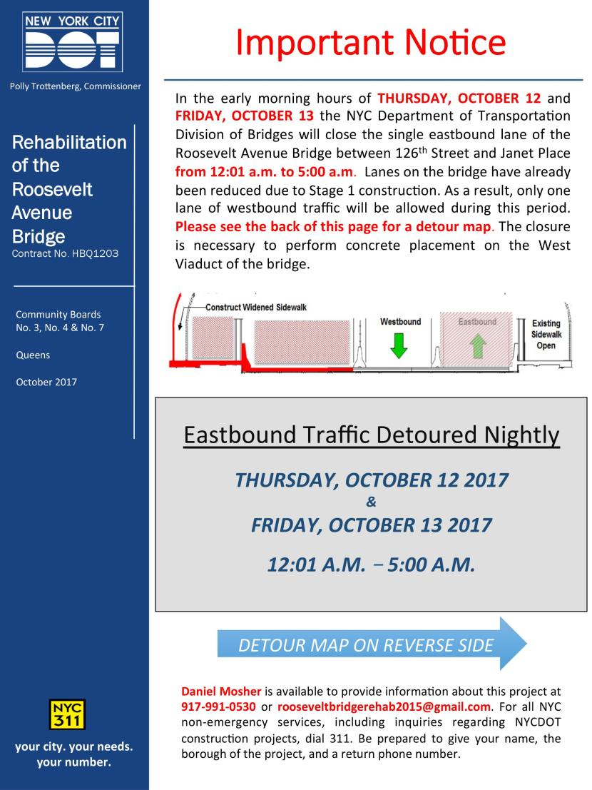 LANE CLOSURES: Roosevelt Avenue Bridge - Thursday October 12th & Friday October 13th