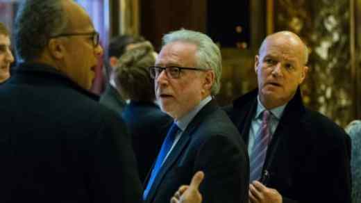 CNN Anchor Wolf Blitzer (C) exits the elevator at Trump Tower on another day of meetings scheduled for President-elect Donald Trump on November 21, 2016 in New York.
