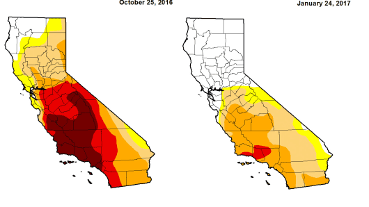 A map by the US Drought Monitor showing California drought conditions from Oct. 26, 2016 to Jan. 25, 2017.
